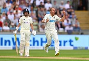 Neil Wagner celebrates after taking the wicket of England batsman Zac Crawley.