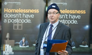 St Vincent de Paul Society president Denis Walsh at the society's CEO Sleepout in Sydney last year.