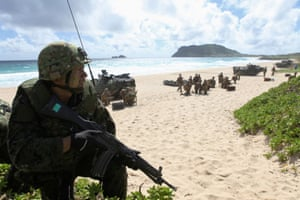 A soldier with the Japan maritime self-defense force is seen during a simulated beach assault at Marine Corps Base Hawaii during Rimpac in 2016.