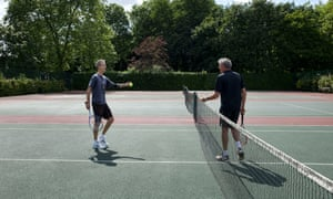 Andrew Anthony plays tennis with Geoff Dyer, Queens Park, London