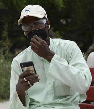 Delhi gravedigger Mohammed Shamim pictured last year at the start of the pandemic.