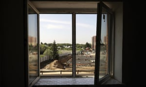 A view from a window at the construction site of an apartment block in Novosibirsk, Russia.