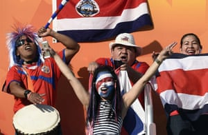 Costa Rica's fans cheer on their team against Brazil