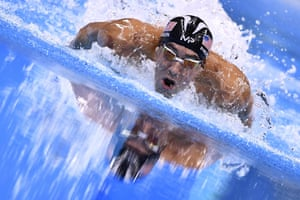 Phelps powers through the water.