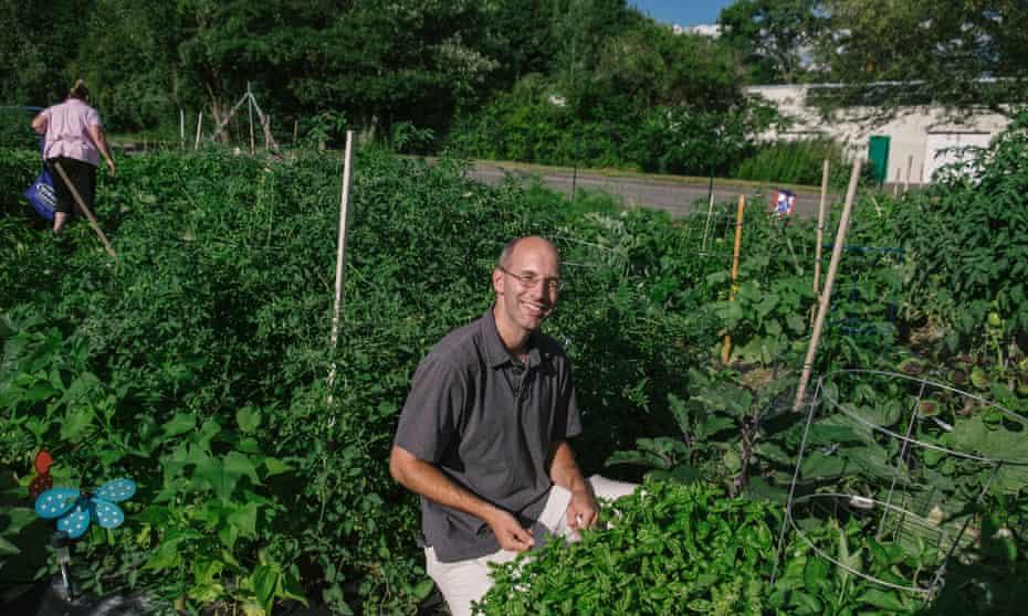 Matt Couture at Watson's community garden