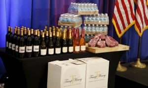 """Spotlight: Trump brand productsSteaks and chops described as 'Trump meat' are shown near the podium with Trump branded wines and water before U.S. Republican presidential candidate Donald Trump was scheduled to appear at a press event at his Trump National Golf Club in Jupiter, Florida, March 8, 2016. REUTERS/Joe Skipper TPX IMAGES OF THE DAY SEARCH """"THE WIDER IMAGE"""" FOR ALL STORIES"""