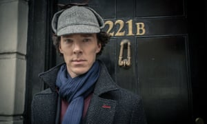 Benedict Cumberbatch as Sherlock Holmes outside 221b - 'the quintessential bachelor's apartment' - in the BBC TV adaptation of Arthur Conan-Doyle's stories.