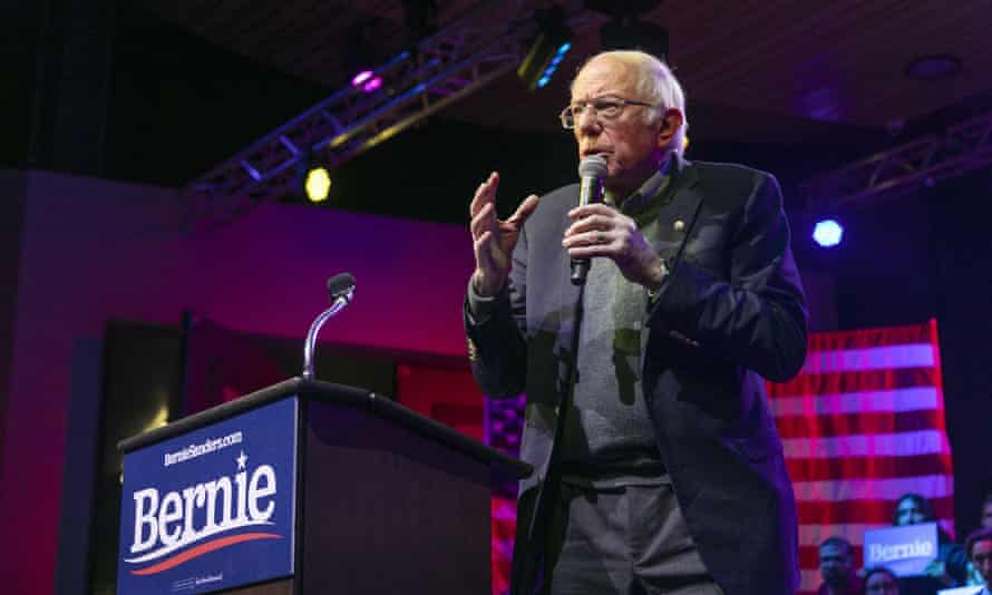 Democratic presidential candidate Bernie Sanders at a rally on 16 December in Rancho Mirage, California.