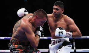 Khan on his way to victory over the Canadian Samuel Vargas in Birmingham in September.