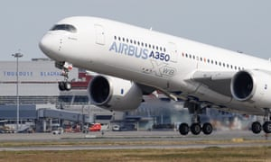 An Airbus A350 takes off at the aircraft builder's headquarters in Colomiers near Toulouse, France.
