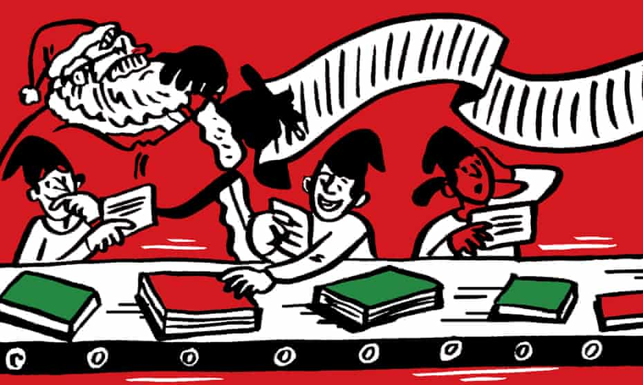 Illustration of Santa and elves sorting books on assembly line
