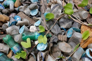 Beautiful plastics pebbles adorn a beach in Indonesia.