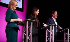 From left, Rebecca Long-Bailey, Lisa Nandy and Keir Starmer at the Guardian hustings in Manchester (Picture: Christopher Thomond/the Guardian)