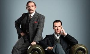 Benedict Cumberbatch (right) and Martin Freeman in period costume for Sherlock.