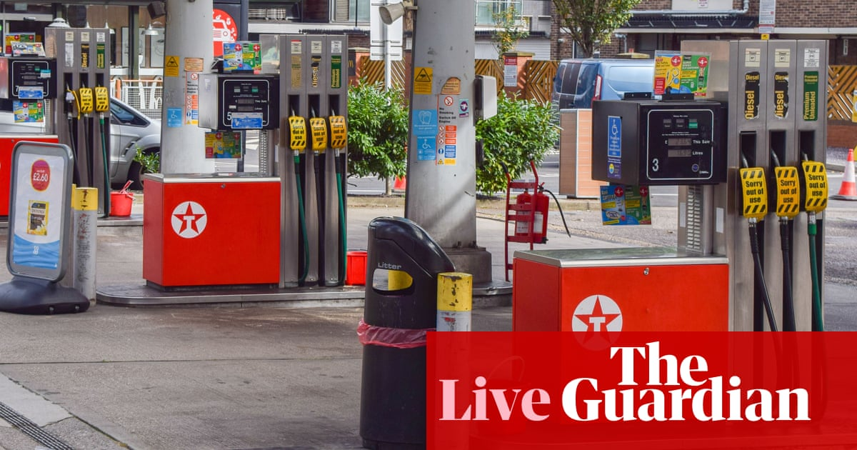 UK business confidence 'falls off a cliff', as fuel crisis enters second week – business live