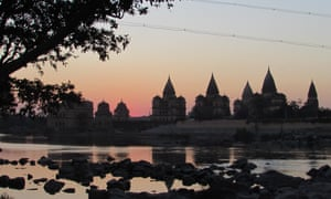 Temples taken from the ancient bridge at Orchha