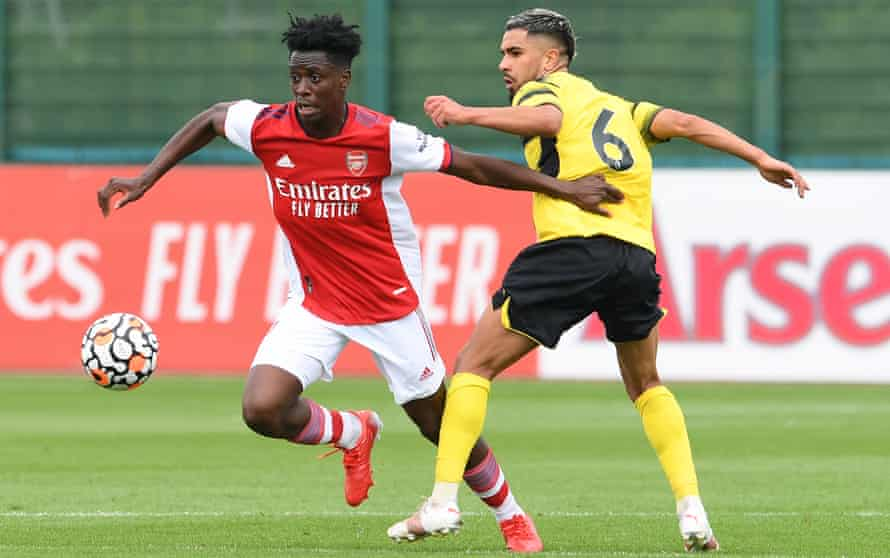 Albert Sambi Lokonga, one of Arsenal's signings, in action in a friendly against Watford.