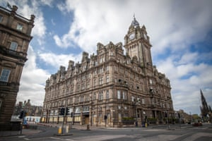 The Balmoral Hotel in Princes Street, Edinburgh, which has been boarded up during the lockdown.