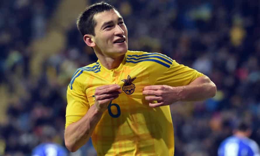 Taras Stepanenko celebrates after scoring during the friendly football match between Ukraine and Cyprus.