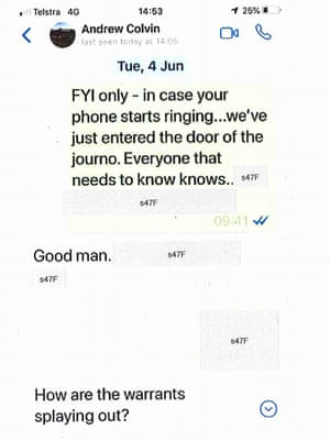 WhatsApp messages between AFP deputy commissioner Neil Gaughan and then-commissioner Andrew Colvin