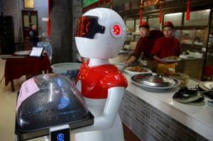A robot waiter in Sanmenxia, Henan province.