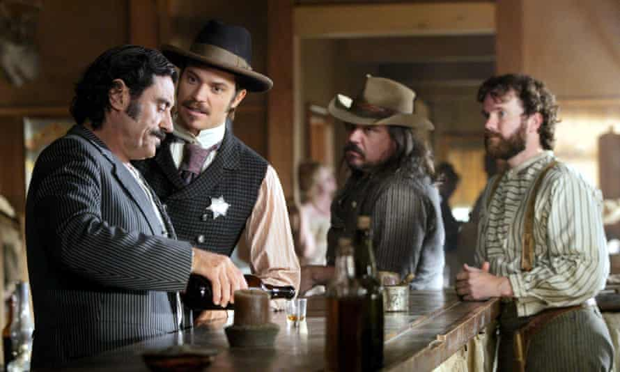 Ian McShane, Timothy Olyphant, W Earl Brow and Sean Bridgers in Deadwood.