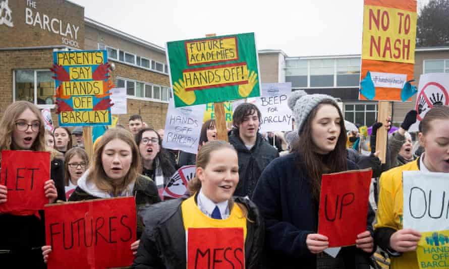 Teachers and students protest at Barclay school, Stevenage, January 2019