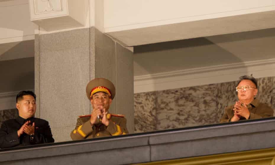 Kim Jong-un with his father, Kim Jong-il