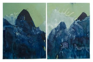 Littoral Drift Nearshore #765 (Diptych, Bainbridge Island, WA 09.05.17, Two Simulated Waves & Raining Ash from the Jolly Mountain and Eagle Creek Forest Fires) Unique dynamic cyanotype