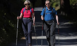 The prime minister, Theresa May, on a walking holiday in the Alps with her husband, Philip