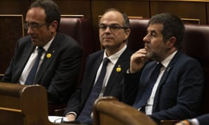 Three of the jailed Catalan MPs, (from left) Josep Rull, Jordi Turull, and Jordi Sànchez