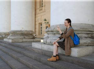 Armstrong speaks with her parents via a video call outside the Bolshoi Theatre.