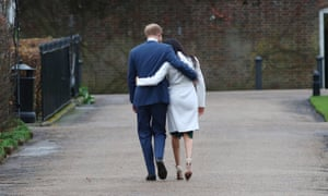 Prince Harry and Meghan leave a photocall after announcing their engagement in November 2017.