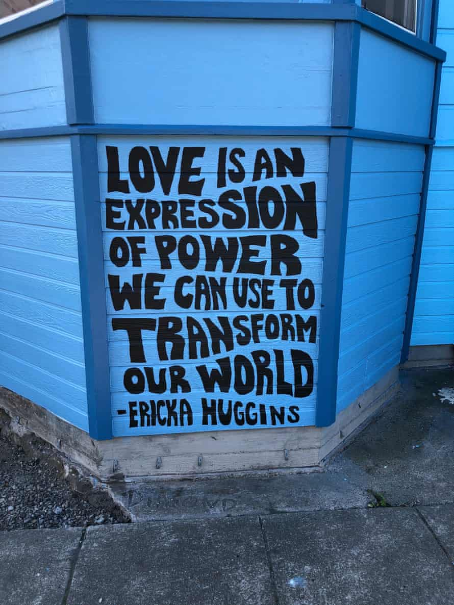 A quote from former Black Panther party member Ericka Huggins is part of the mural.