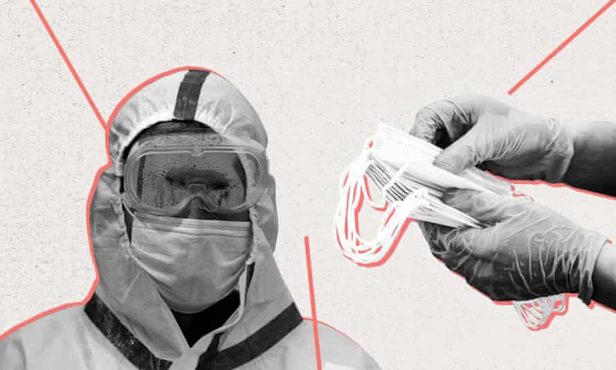 A graphic showing a health worker in PPE.