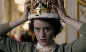 The weight of the world on her slim shoulders … Claire Foy as Elizabeth in The Crown