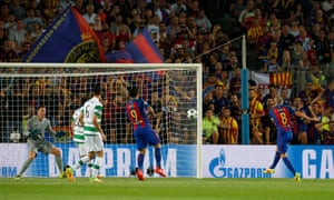 A fanstasic volley by Andres Iniesta for Barcelona's fourth goal.