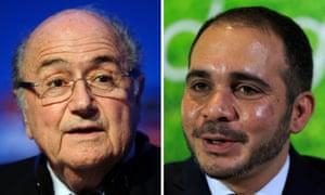 Fifa presidential election contenders: Sepp Blatter (left) and Prince Ali bin al-Hussein.
