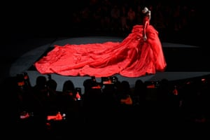 A model wears a creation from William Zhang by Zhang Hongwei during China fashion week