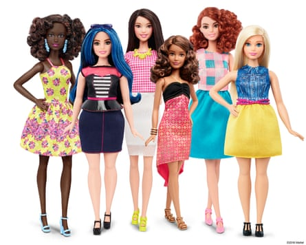 The new Barbie, with varied body types, hair, outfits and skin tones.