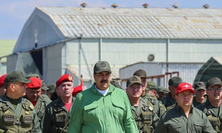 Nicolás Maduro takes part in a ceremony during military exercises at the Libertador Air Base in Maracay