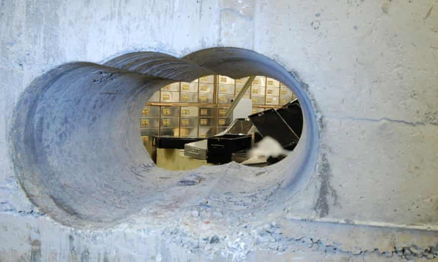The hole drilled by the burglars