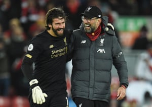 Juergen Klopp and Alisson after the match.
