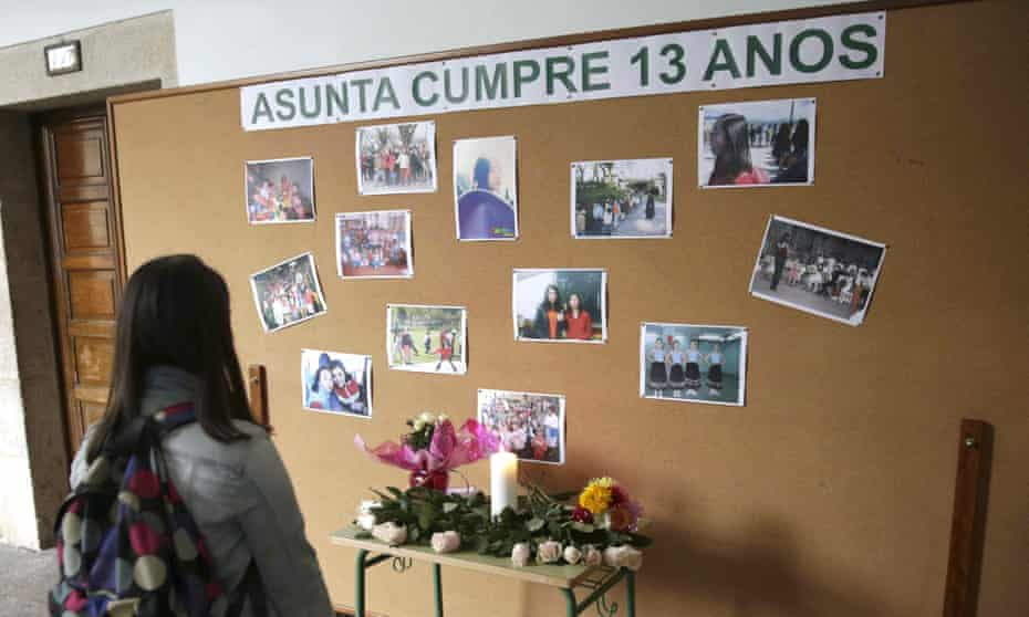 A memorial to Asunta Yong Fang Basterra Porto at her school in Santiago de Compostela