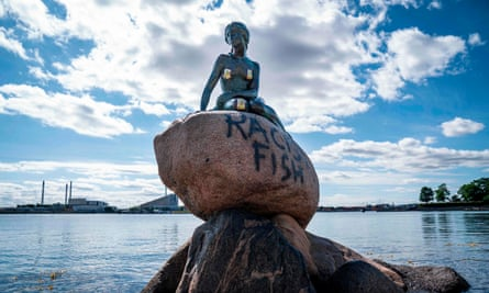 The vandalised Little Mermaid sculpture in Copenhagen