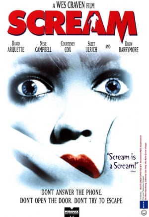 The movie poster for the film, Scream, which was released in 1996. It would become Craven's second major franchise, with a total of four films, the last of which was released in 2011.