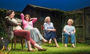 Linda Bassett, Deborah Findlay, Kika Markham and June Watson in Escaped Alone at the Royal Court, 2016.