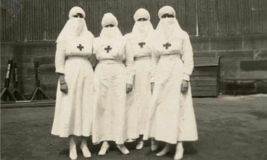 Red Cross nurses in 1918, Sydney, during the Spanish flu outbreak.