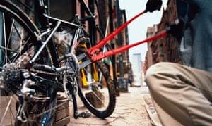 Chain reaction … a bike thief cutting a lock.