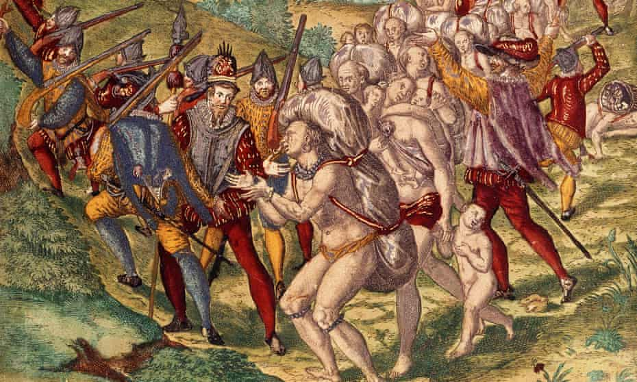 Europeans such as the Spanish explorers shown here brought germs, as well as slavery, to the Americas.